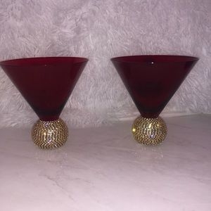 Red and gold luxurious wine glasses